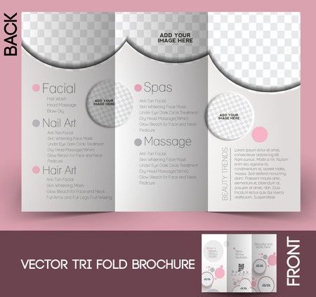 Spa Salon Beauty Tri-fold Brochure Design With Leaves Bowl And ...