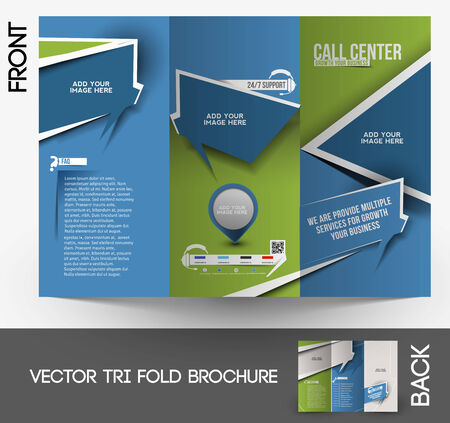 customer service phone: Call Center Tri-fold Brochure Design Template Illustration