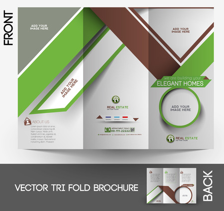 Real Estate Agent Tri-fold Mock up & Brochure Design  Vector