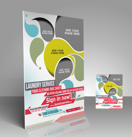 dry cleaner: Laundry Service Flyer & Poster Template Design Illustration