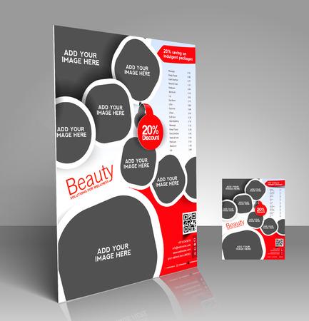 Beauty Care & Salon Flyer & Poster Template Design Illustration