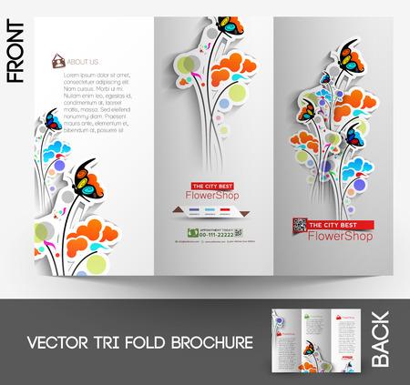 フラワー ショップの三つ折のモック アップ & パンフレット デザイン  イラスト・ベクター素材