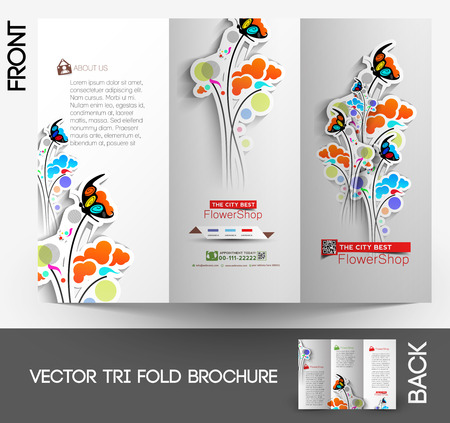 Flower shop Tri-Fold Mock up & Brochure Design  Vector