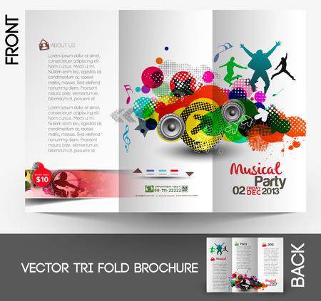 Music Club Party Tri-Fold Mock up & Brochure Design Vector