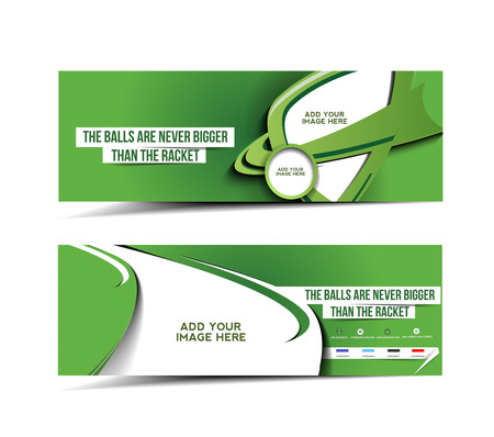 Tennis Tournament Web Banner, Header Layout Template Illustration