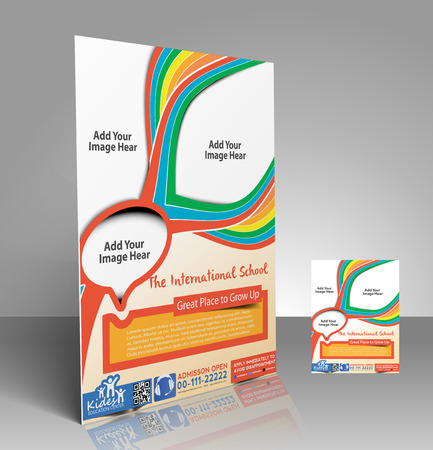 School  Flyer & Poster Template Design Vector