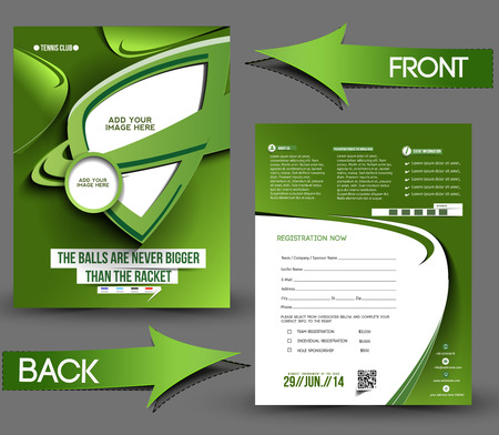 Tennis Competition Front & Back Flyer Template  Vector