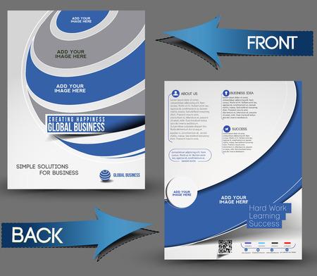 Global Business Front & Back Flyer Template  Vector