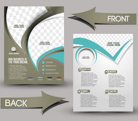 leaflet: Global Business Front & Back Flyer Template. Illustration