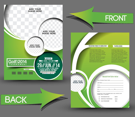 Golf Tournament Front & Back Flyer Template  向量圖像