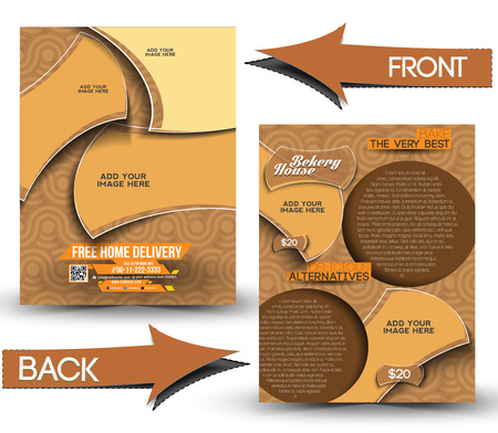 Bekery House Front & Back Flyer Template  Vector
