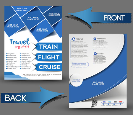 Travel Center Front & Back Flyer Template. Vector