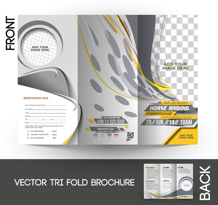 Horse Riding Tri-Fold Mock up & Brochure Design  Vector