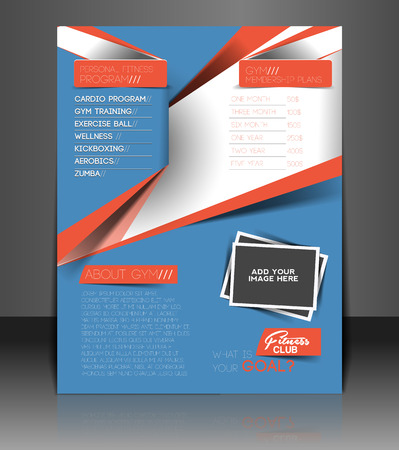 Fitness Center Back Flyer & Poster Template  Vector