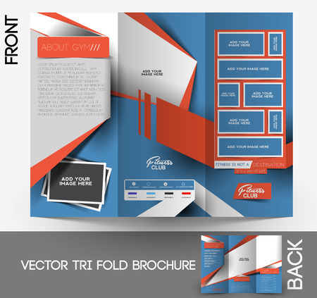 Fitness Center Tri-Fold Mock up & Brochure Design  Vector