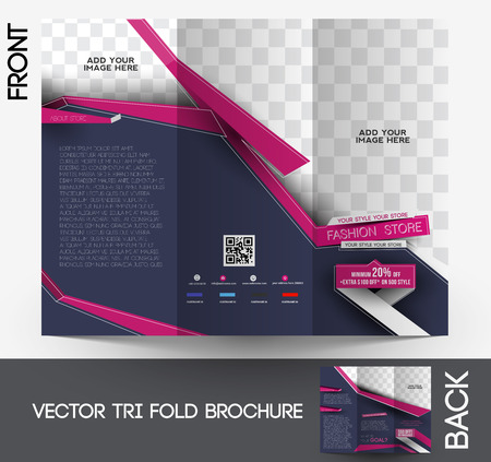 tri fold: Fashion Tri-fold Brochure Design Vector Illustartion.