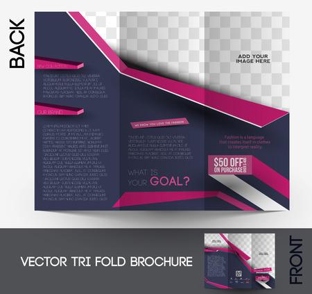 Fashion Tri-fold Brochure Design Vector Illustartion.
