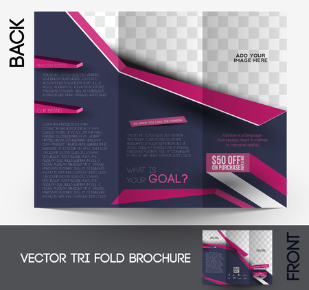 tri fold: Fashion Tri-fold Brochure Design Vector Illustartion.