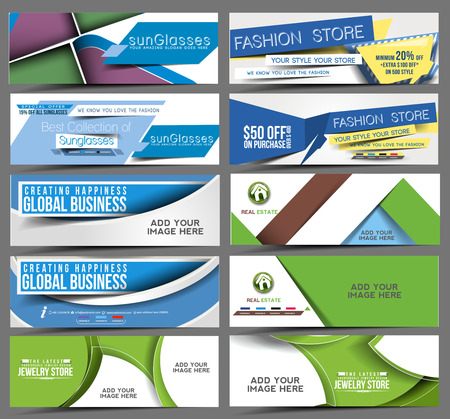 cut price: Set of Web Banner Header Design Element.