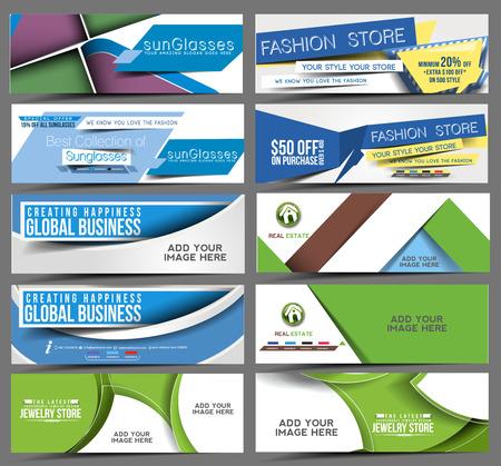 Set of Web Banner Header Design Element.