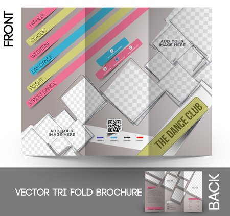 abstract dance: Dance Club Tri-Fold Mock up & Brochure Design Illustration