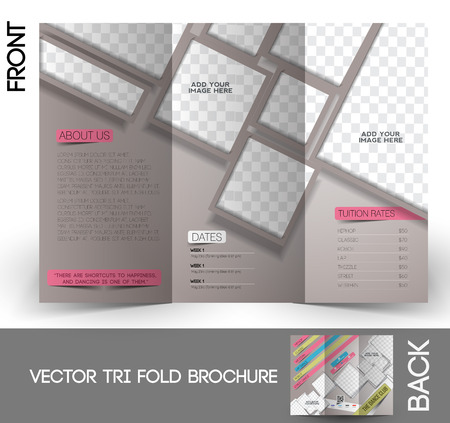 brochure design: Dance Club Tri-Fold Mock up & Brochure Design Illustration
