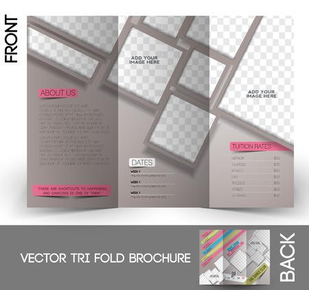 night school: Dance Club Tri-Fold Mock up & Brochure Design Illustration