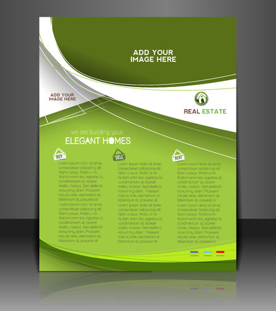 real estate house: Real Estate Agent Flyer & Poster Template Design Illustration