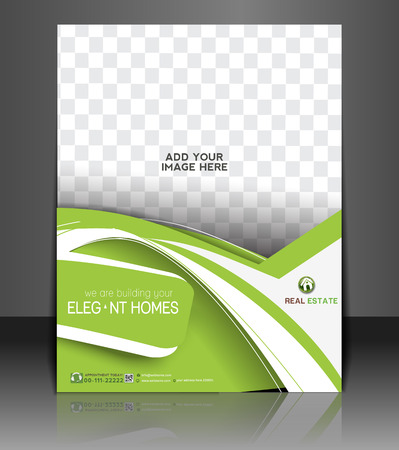 real people: Real Estate Agent Flyer & Poster Template Design Illustration