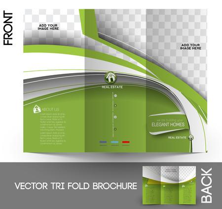 estate agent: Real Estate Agent Tri-Fold Mock up & Brochure Design  Illustration