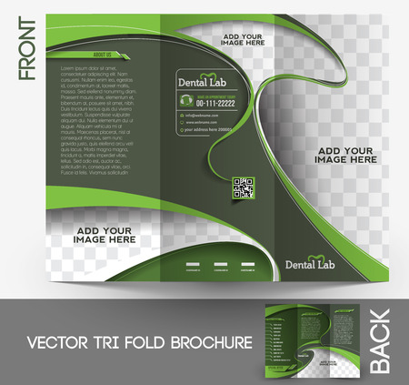 fundas: Dental Tri-pliegue folleto dise�o Vector Illustartion.