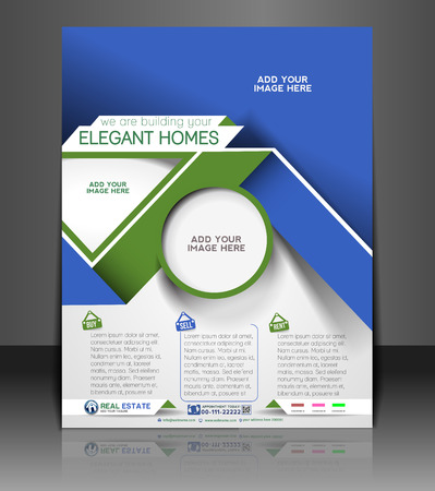 interior layout: Real Estate Agent Flyer & Poster Template Design Illustration
