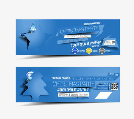 Christmas Party Web Banner Template Vector