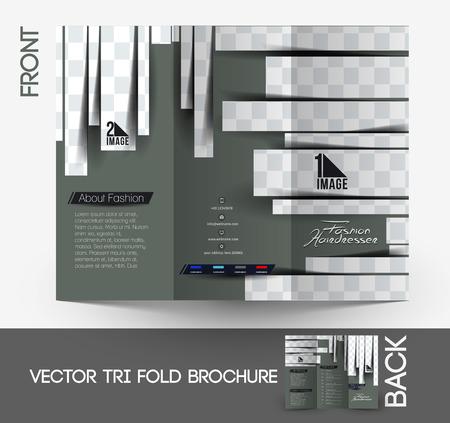 Hairdresser & Salon Tri-Fold Mock up & Brochure Design  Vector
