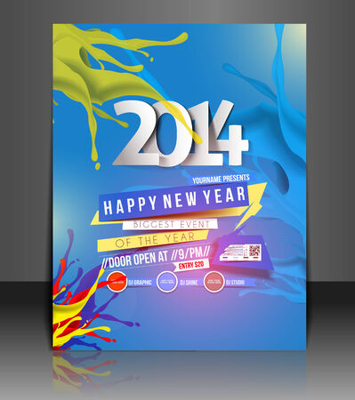 annual events: New Year Party Flyer & Poster Cover Template Illustration