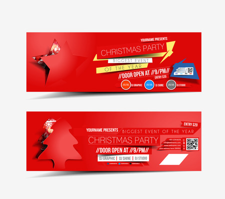 Christmas & New Year Party Web Banner Template Vector