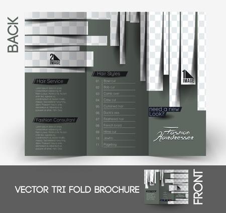 Hairdresser & Salon Tri-Fold Mock up & Brochure Design Illustration