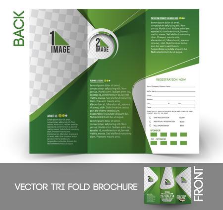 Golf Tournament Tri-Fold Mock up & Brochure Design  Ilustracja