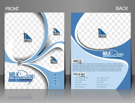 Milk Store Front & Back Flyer Template. Vector