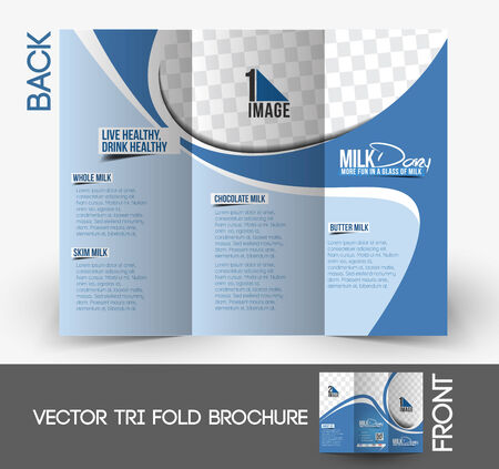 brochure design: Milk Store Tri-Fold Mock up & back Brochure Design.