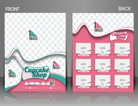 Cup Cake Shop Front & Back Flyer Template  Vector