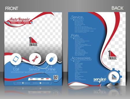 automotive mechanic: Coche centro delantero y trasero del folleto, revista y cartel de plantillas. Vectores