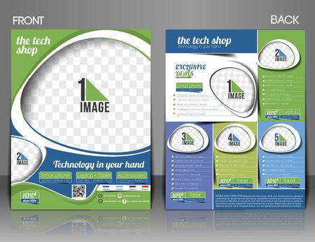 laptop repair: The Tech Shop Flyer Magazine Cover & Poster Template.  Illustration