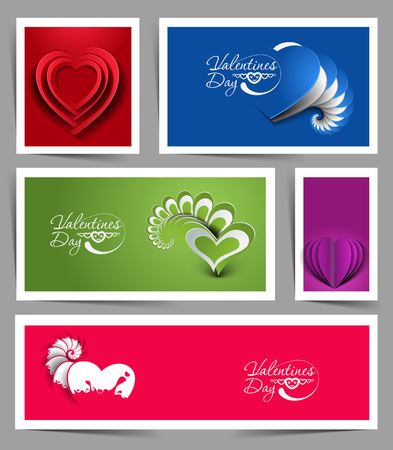 Set of Valentines Day Hearts Banner Vector