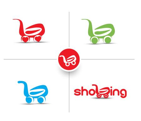 shoping bag: Set of Shopping Cart & Shopping Basket Icon Design.  Illustration