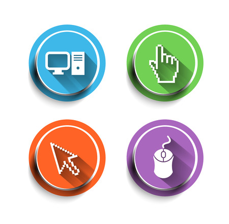 Electronic computer icon set.  Vector