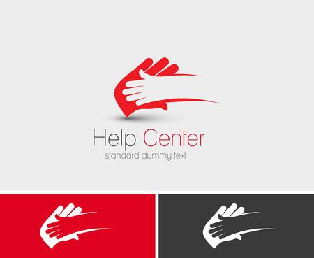 aide à la personne: Symbole du Centre d'aide, conception de vecteur isolé