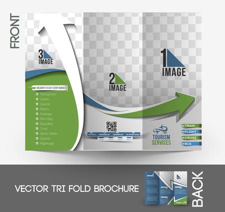 Travel Service Tri-Fold Brochure Design.  Vector
