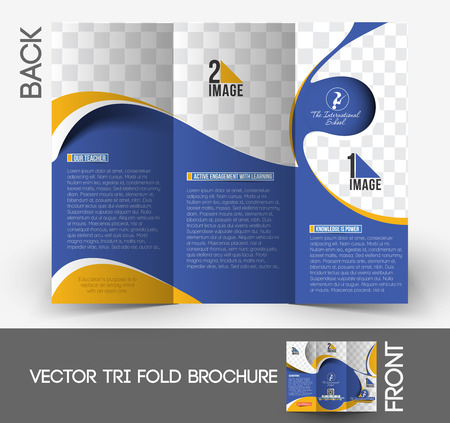 Kids School Tri-Fold  Brochure Mock up Design  Vector