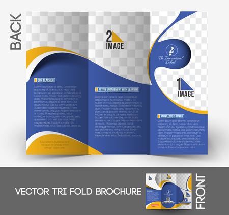 magazine template: Kids School Tri-Fold  Brochure Mock up Design